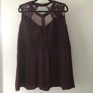 Maurices Maroon Lace Tank